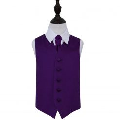 Purple Plain Satin Wedding Waistcoat & Cravat Set for Boys
