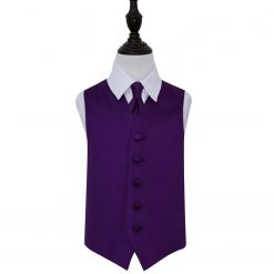 Purple Plain Satin Wedding Waistcoat & Tie Set for Boys