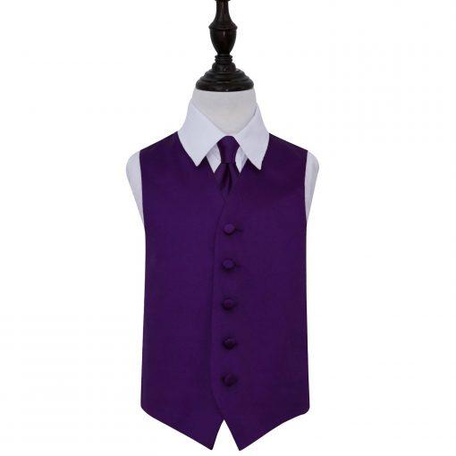 Purple Plain Satin Wedding Waistcoat & Tie Set for Boys