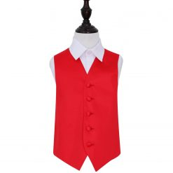 Red Plain Satin Wedding Waistcoat for Boys