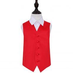 Red Plain Satin Wedding Waistcoat for Boys