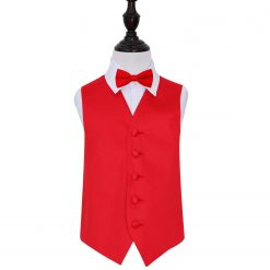 Red Plain Satin Wedding Waistcoat & Bow Tie Set for Boys