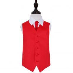 Red Plain Satin Wedding Waistcoat & Cravat Set for Boys