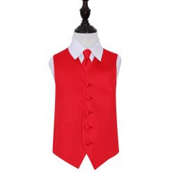 Red Plain Satin Wedding Waistcoat & Tie Set for Boys