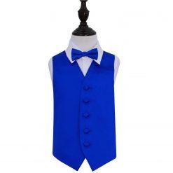 Royal Blue Plain Satin Wedding Waistcoat & Bow Tie Set for Boys