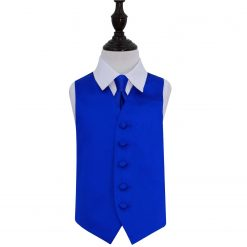 Royal Blue Plain Satin Wedding Waistcoat & Tie Set for Boys