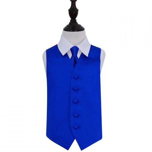 Royal Blue Plain Satin Wedding Waistcoat & Tie Set for Boys