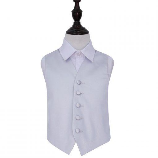 Silver Plain Satin Wedding Waistcoat for Boys
