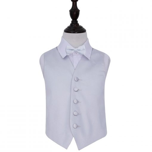 Silver Plain Satin Wedding Waistcoat & Bow Tie Set for Boys