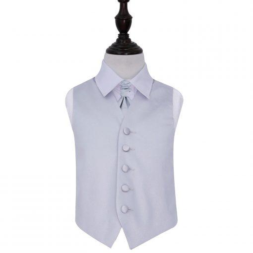 Silver Plain Satin Wedding Waistcoat & Cravat Set for Boys
