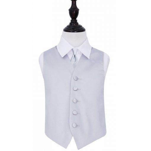 Silver Plain Satin Wedding Waistcoat & Tie Set for Boys