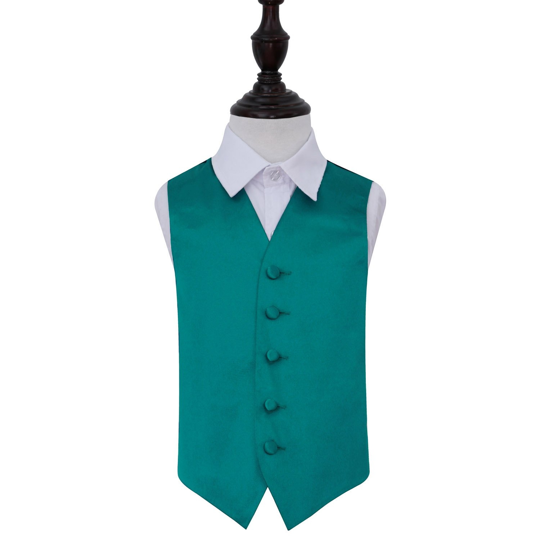 Teal Plain Satin Wedding Waistcoat for Boys