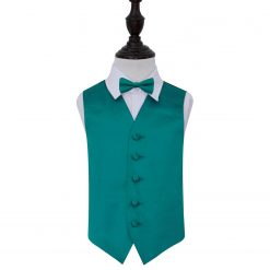 Teal Plain Satin Wedding Waistcoat & Bow Tie Set for Boys