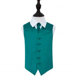 Teal Plain Satin Wedding Waistcoat & Cravat Set for Boys