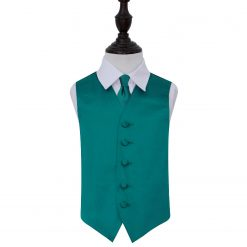 Teal Plain Satin Wedding Waistcoat & Tie Set for Boys