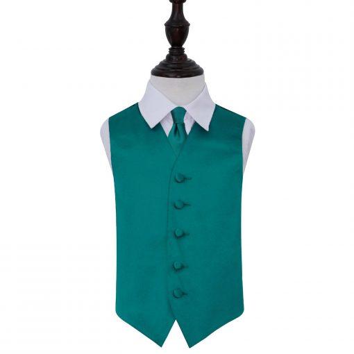 Teal Plain Satin Wedding Waistcoat & Tie Set for Boys