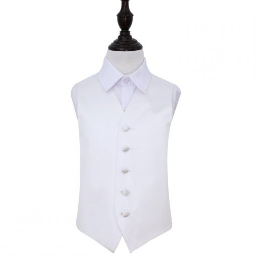 White Plain Satin Wedding Waistcoat for Boys