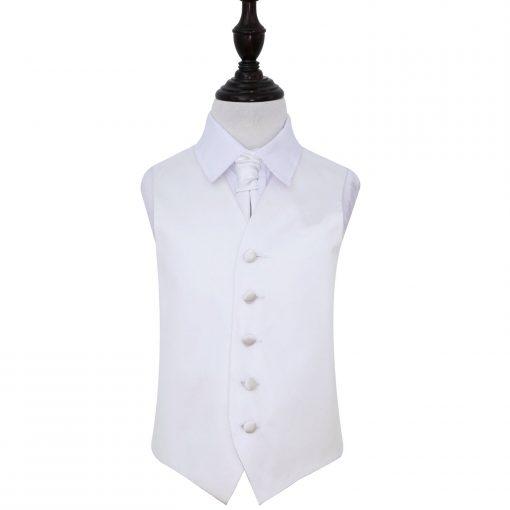 White Plain Satin Wedding Waistcoat & Cravat Set for Boys