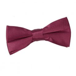 Burgundy Plain Satin Pre-Tied Bow Tie for Boys