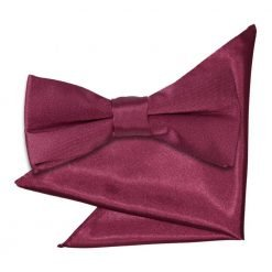 Burgundy Plain Satin Bow Tie & Pocket Square Set for Boys