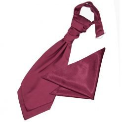 Burgundy Plain Satin Wedding Cravat & Pocket Square Set for Boys