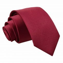 Burgundy Plain Satin Regular Tie for Boys