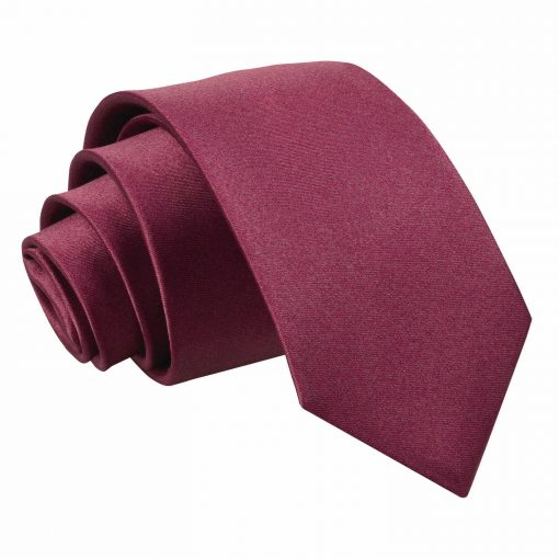 Burgundy Plain Satin Regular Tie for Boys