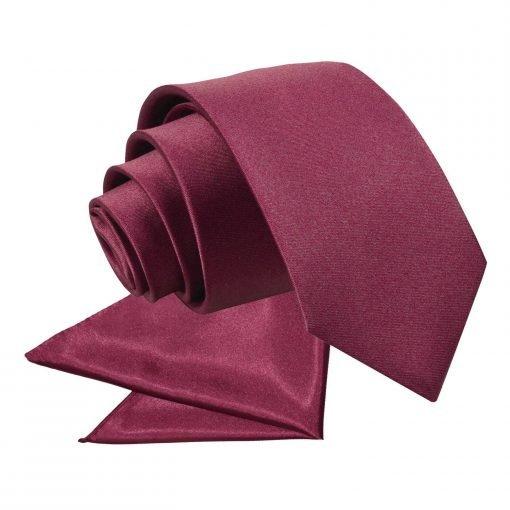 Burgundy Plain Satin Tie & Pocket Square Set for Boys