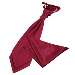 Burgundy Plain Satin Wedding Cravat & Pocket Square Set