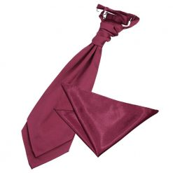Burgundy Plain Satin Wedding Cravat & Pocket Square Set