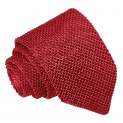 Burgundy Knitted Slim Tie