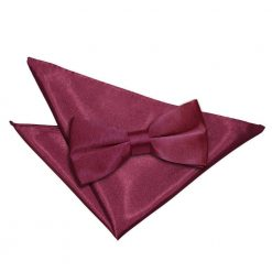 Burgundy Plain Satin Bow Tie & Pocket Square Set
