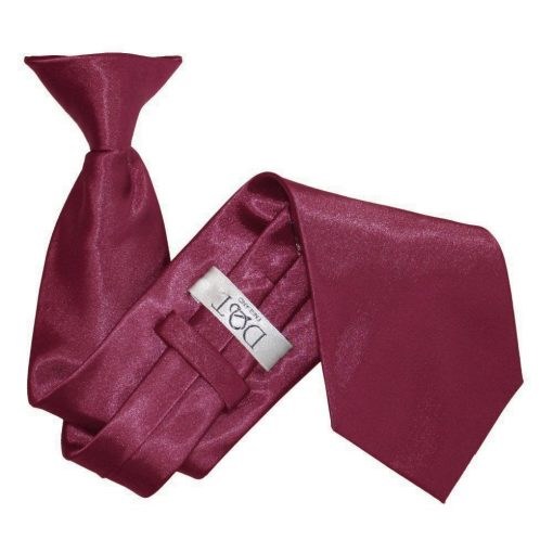 Burgundy Plain Satin Clip On Tie