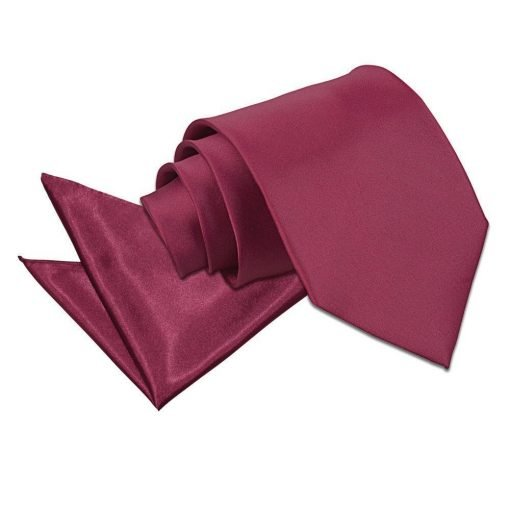 Burgundy Plain Satin Tie & Pocket Square Set