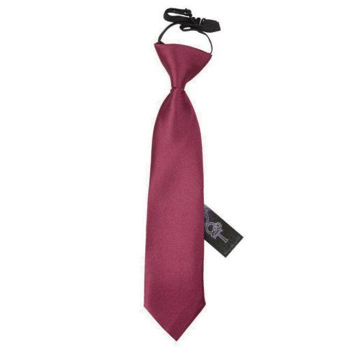 Burgundy Plain Satin Elasticated Tie for Boys