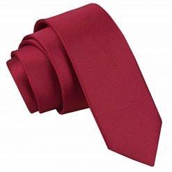 Burgundy Plain Satin Skinny Tie
