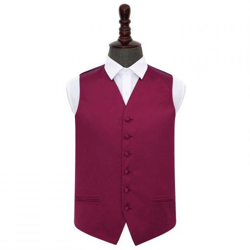 Burgundy Plain Satin Wedding Waistcoat