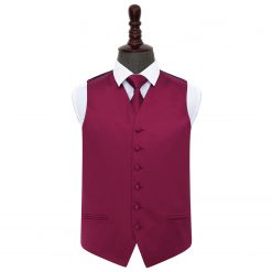 Burgundy Plain Satin Wedding Waistcoat & Tie Set