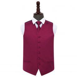 Burgundy Plain Satin Wedding Waistcoat & Tie Set