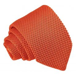 Burnt Orange Knitted Slim Tie