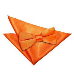 Burnt Orange Plain Satin Bow Tie & Pocket Square Set
