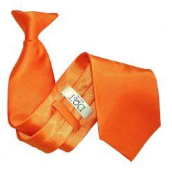 Burnt Orange Plain Satin Clip On Tie