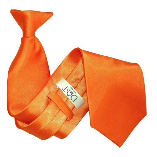Burnt Orange Plain Satin Clip On Tie