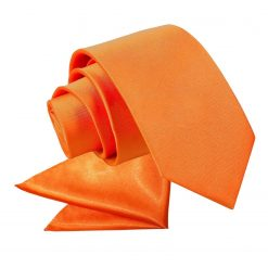 Burnt Orange Plain Satin Tie & Pocket Square Set for Boys