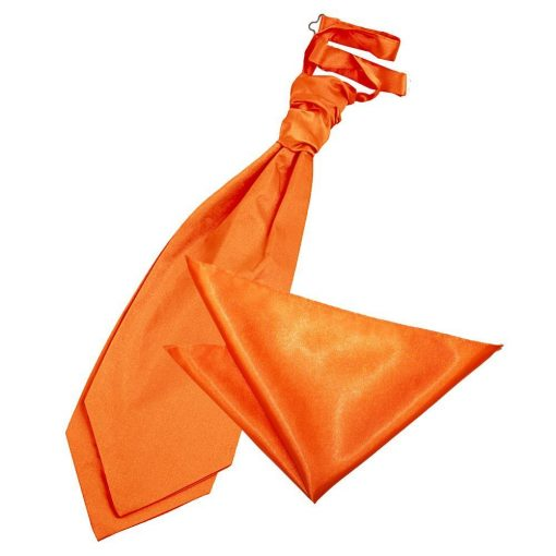 Burnt Orange Plain Satin Wedding Cravat & Pocket Square Set