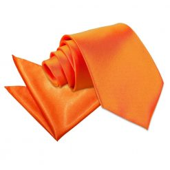 Burnt Orange Plain Satin Tie & Pocket Square Set