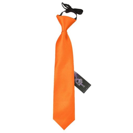 Burnt Orange Plain Satin Elasticated Tie for Boys