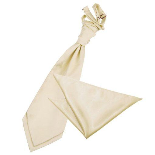 Champagne Plain Satin Wedding Cravat & Pocket Square Set