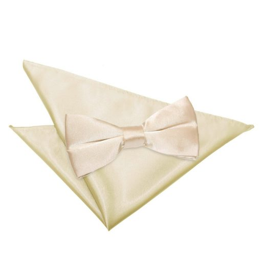 Champagne Plain Satin Bow Tie & Pocket Square Set
