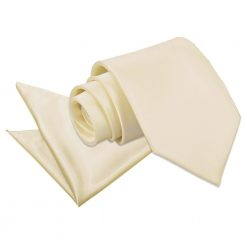Champagne Plain Satin Tie & Pocket Square Set